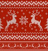 "Red ""sweater with deer"" seamless pattern. This is file of EPS10 format. poster"