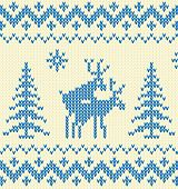 "White and blue ""sweater with deer"" seamless pattern poster"