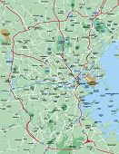 Boston MA Metropolitan Area Map showing major roads cities airports and lakes and parks poster