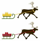 vector two versions of reindeer pulling sledge with gifts isolated on white background poster