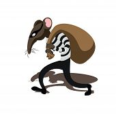 Vector image of Rat thief, with outline and color poster