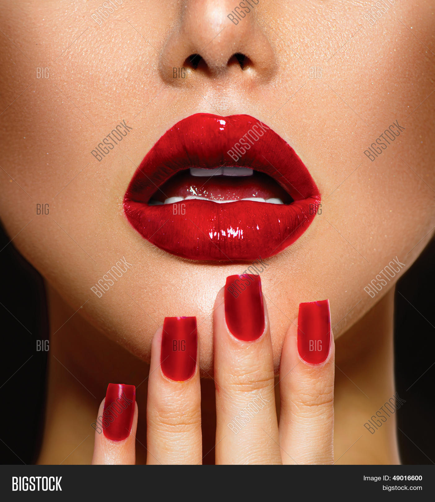 Kiss And Makeup Day: Red Sexy Lips Nails Image & Photo (Free Trial)