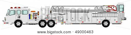 White Tiller Tractor Drawn Aerial Fire Ladder