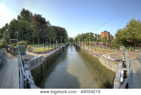 The Romney Lock on the River Thames Windsor near London. poster