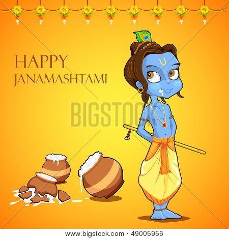 illustration of Lord Krishana in Janmashtami poster