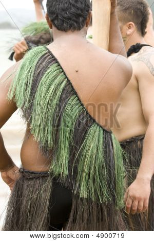 Maori Man In Traditional Clothing Seen On Back