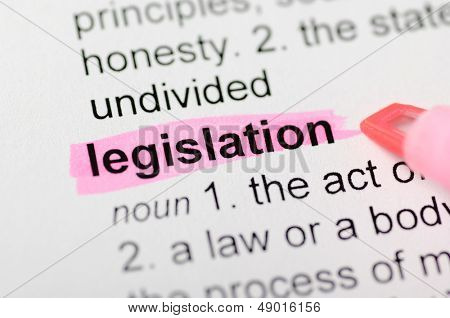 Pink marker on legislation word