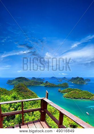 Ko Samui angthong national marine park archipelago in Thailand. Panoramic islands view from viewpoint