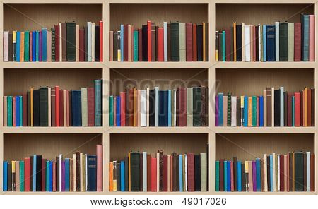 Books on a wooden shelfs.