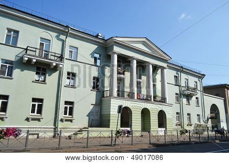 Residential building in the Stalin-style in Zelenogorsk St.Petersburg Russia poster