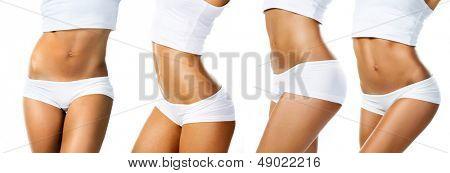 Perfect female body isolated on white background. Set