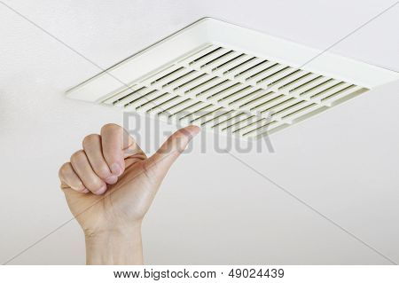 Thumbs Up After Successfully Cleaning And Installing Fan Vent