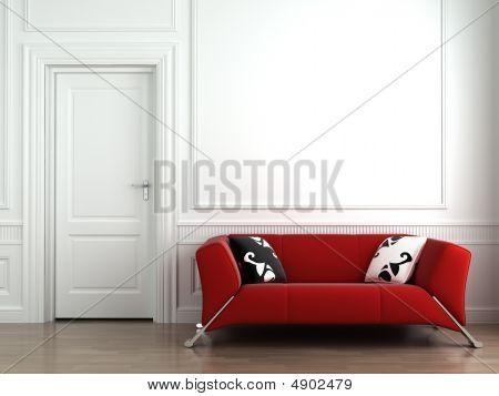 Vörös kanapé fehér belső fal