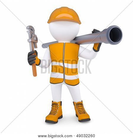 3d white man in overalls with a screwdriver and sewer pipe. Isolated render on a white background poster