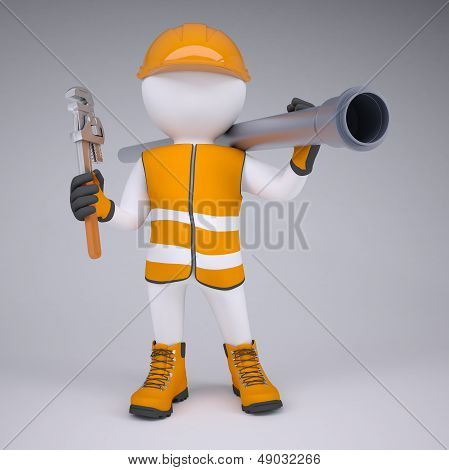 3d white man in overalls with a screwdriver and sewer pipe. Render on studio poster