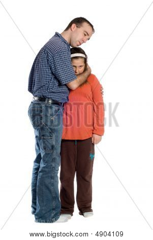 Father Daughter Isolated On White