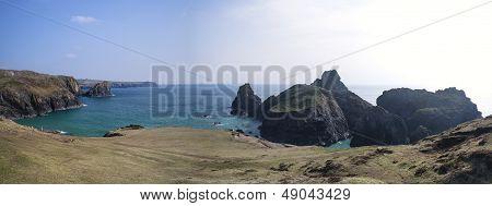 Large panorama landscape image of Kynance Cove