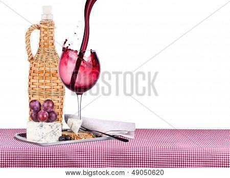picnic with wine and food