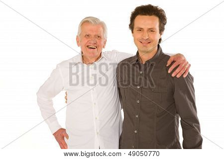 Eldery Father Granfather And Son Standing  On White Backgraund
