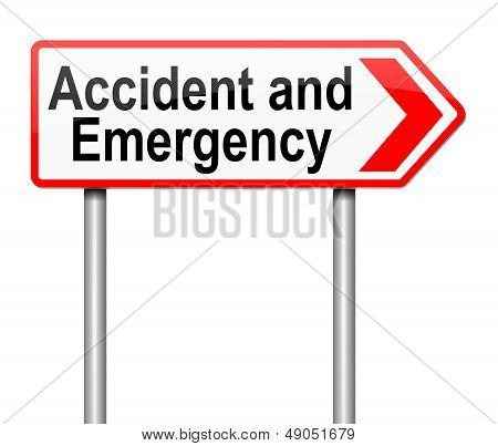 Accident And Emergency Sign.