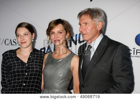 LOS ANGELES - AUG 8:  Georgia Ford, Calista Flockhart, Harrison Ford arrives at the