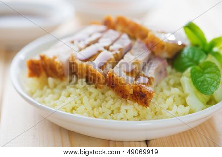 Siu Yuk - Chinese crispy roasted belly pork rice. Hong Kong cuisine.