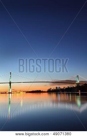 Lions Gate Bridge Morning Vancouver vertical