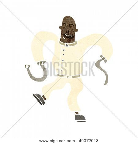 retro cartoon man in straight jacket