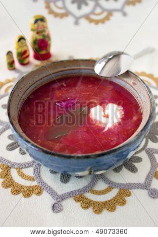 Home made vegetarian borscht soup