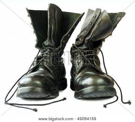 Military Style Black Leather Boots