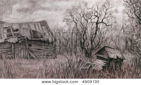Rural Landscape With Old House