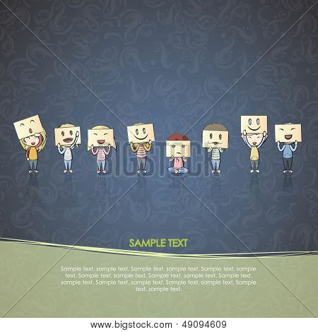 Kids Collection Of Children With Multiple Face Over Vintage Background. Vector Design.