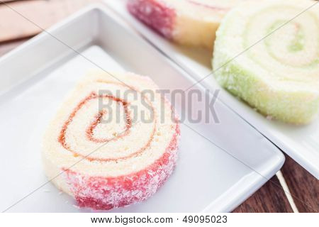 Colorful Jam Rolls Served On White Dish