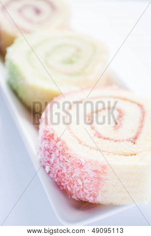 Colorful Jam Roll Cakes  Up Close