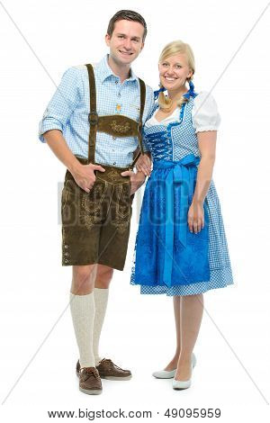 Bavarian Couple In Dirndl
