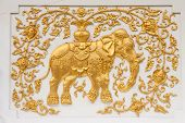 Elephant in traditional northern Thai style molding art poster