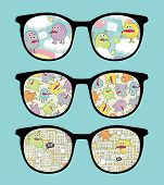Retro sunglasses with sweet monsters reflection in it. Vector illustration of accessory - eyeglasses isolated. poster