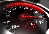 Close up of a car speedometer with the needle pointing a high speed blur effect conceptual image for excessive speeding or careless driving concept poster