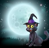 Illustration of a Halloween witch cat in a pointy hat in front of a big full moon on a misty night poster