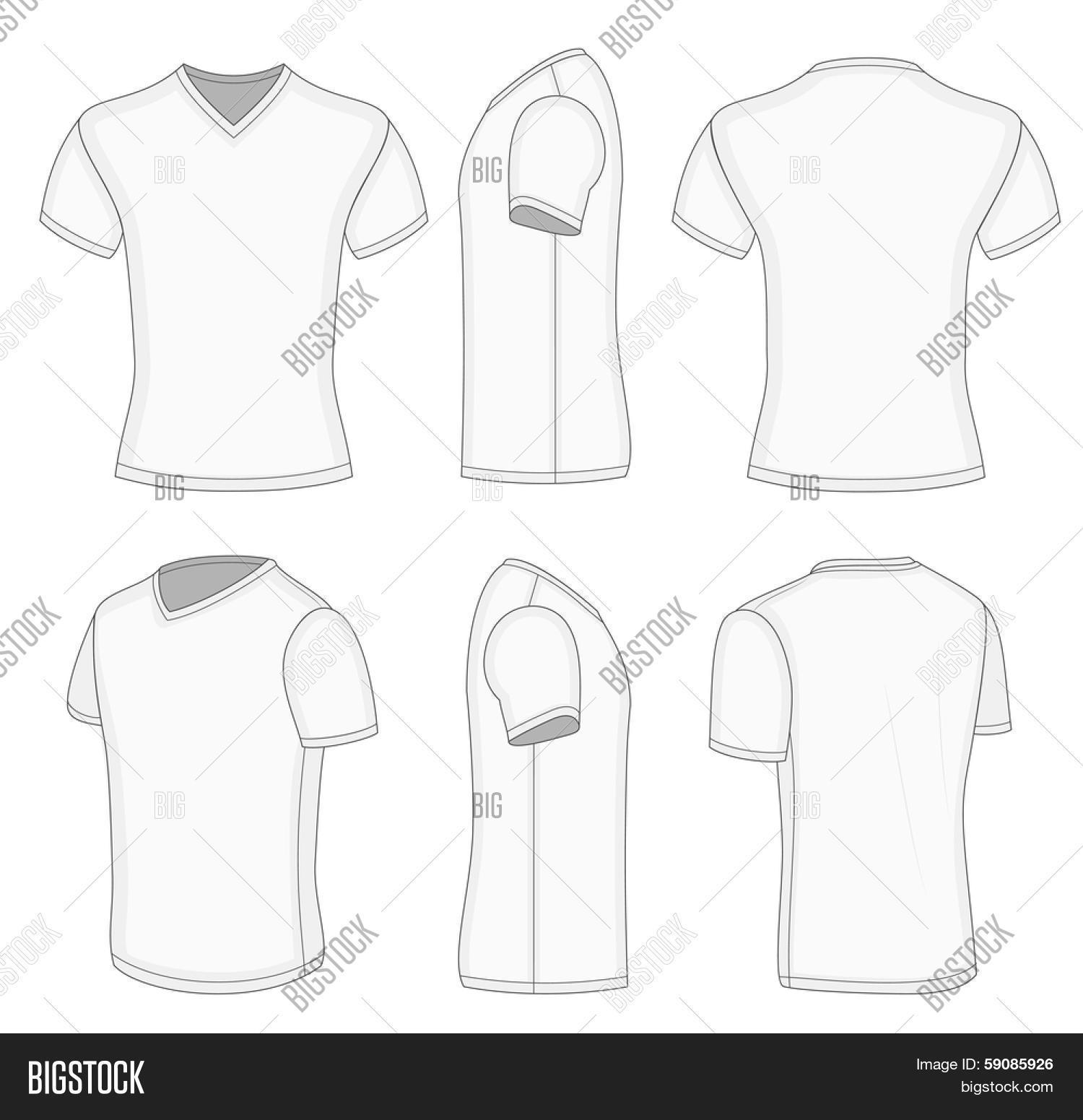bb0089b4d689 All views men's white short sleeve t-shirt v-neck design templates (front