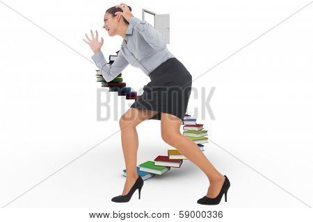 Furious businesswoman gesturing against steps made out of books with open door poster