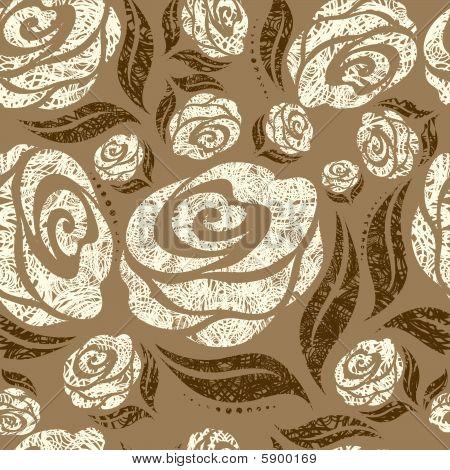 Seamless beige grunge rose pattern