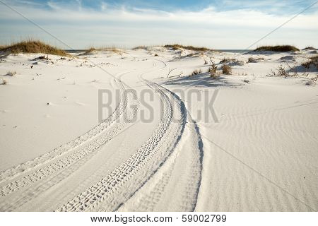 Tire Tracks in Beach Sand Dunes