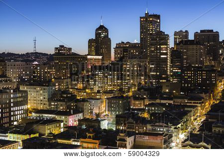SAN FRANCISCO, CALIFORNIA - January 13, 2013:  Dusk view of Chinatown and Nob Hill in downtown San Francisco.