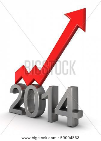 Year 2014 financial growth concept an arrow pointing up 3d illustration