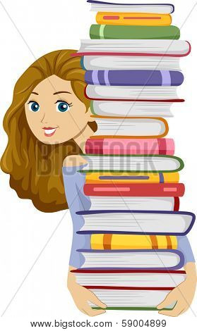 Illustration of a Girl Carrying a Tall Stack of Books