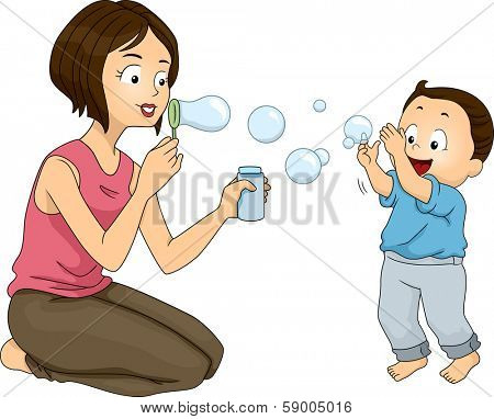 Illustration of a Mother Blowing Bubbles with Her Son
