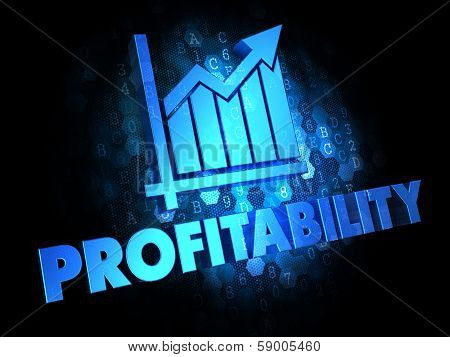 Profitability with Growth Chart - Blue Color Text on Dark Digital Background. poster