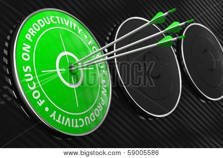 Focus on Productivity Slogan. Three Arrows Hitting the Center of Green Target on Black Background. poster