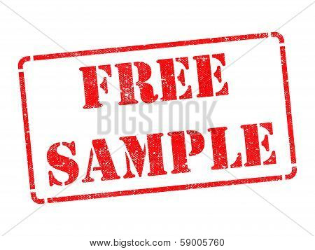 Free Sample - Inscription on Red Rubber Stamp.
